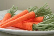 DIY yarn baby carrots for spring decor