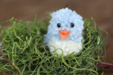DIy blue pompom birdie for Easter decor