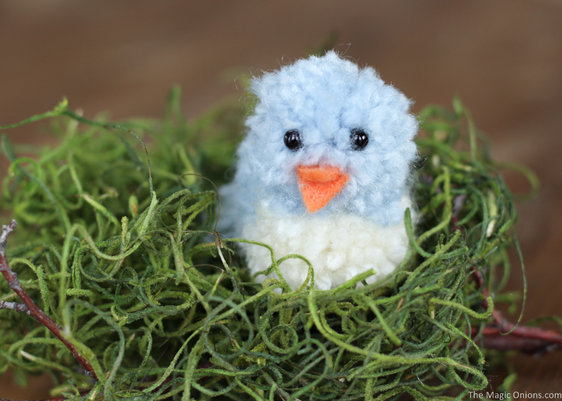 DIy blue pompom birdie for Easter decor