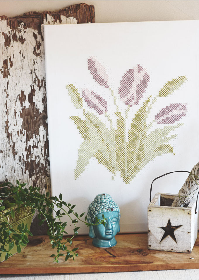DIY cross stitch tulip canvas to try