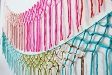 DIY colorful macrame yarn garland