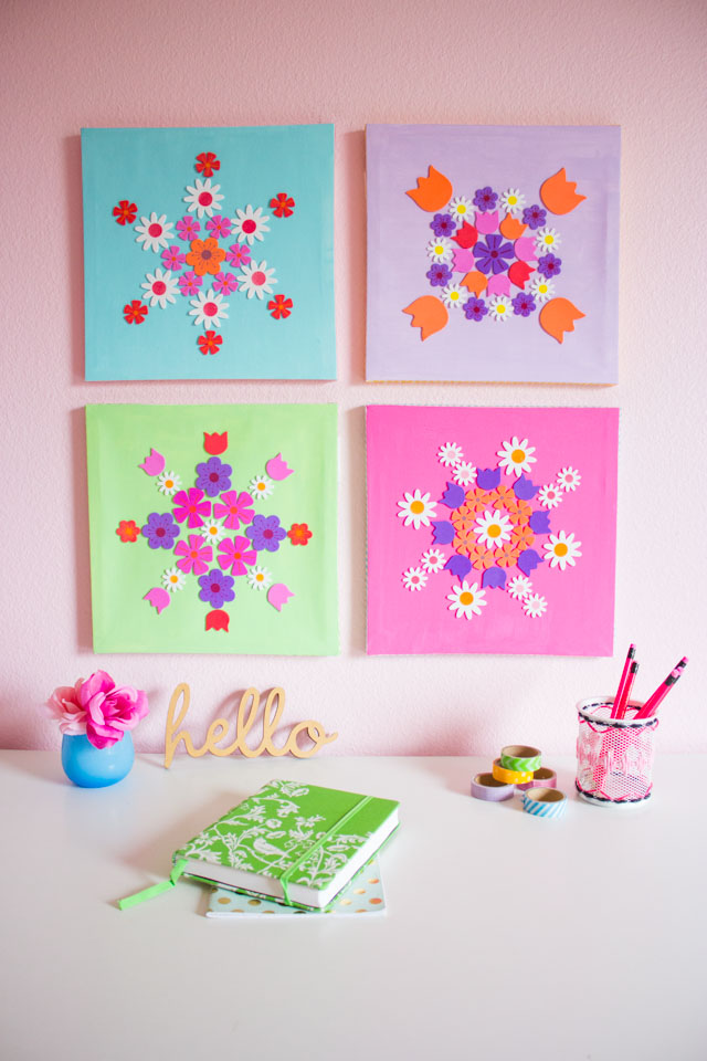DIY colorful canvas wall art with floral stickers (via www.designimprovised.com)