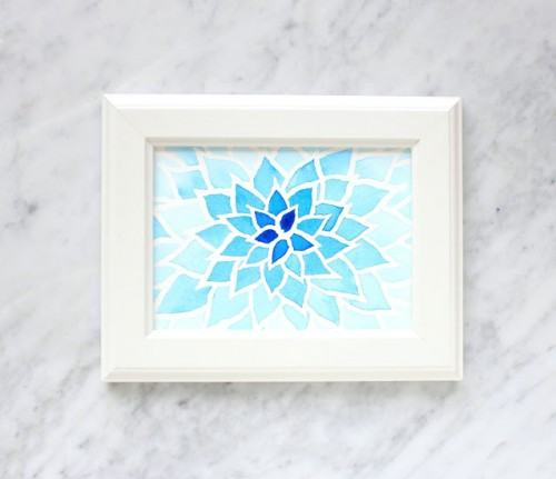 DIY watercolor wall art piece for beginners (via www.shelterness.com)