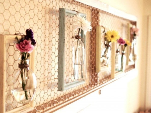 DIY wall art floral arrangement (via www.shelterness.com)