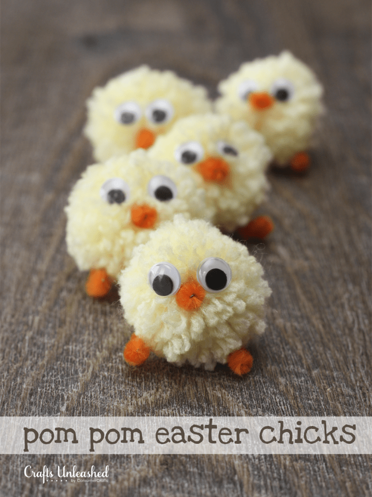 DIY pompom Easter chicks (via blog.consumercrafts.com)