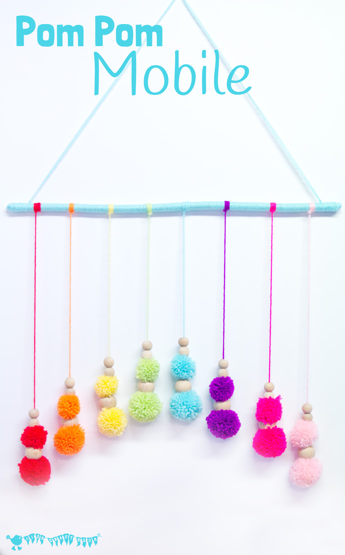 DIY colorful pompom mobile (via kidscraftroom.com)