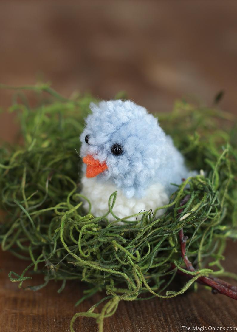 DIY blue pompom birds for Easter decor