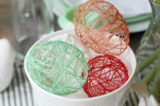 DIY hollow string eggs for Easter