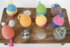 DIY yarn covered eggs for playing