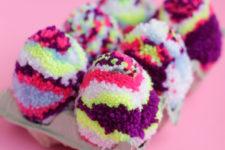 DIY multicolored pompom Easter eggs