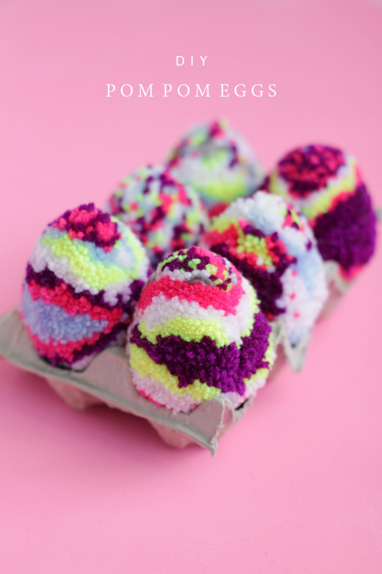 DIY multicolored pompom Easter eggs (via whydontyoumakeme.com)