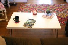 DIY Ikea Linnmon coffee table hack with hairpin legs