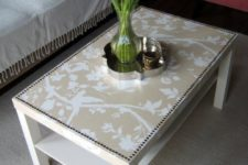 DIY glam Lack table hack with wallpaper