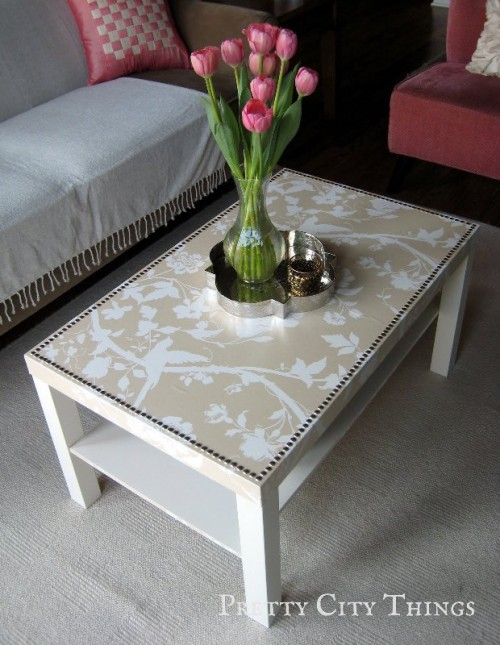DIY glam Lack table hack with wallpaper (via www.shelterness.com)