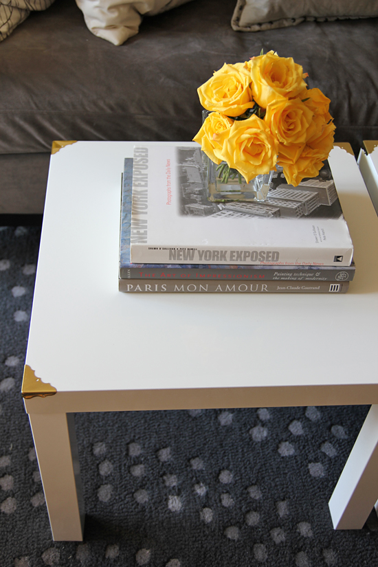 DIY Ikea Lack hack with brass corners (via ourchocolateshavings.blogspot.ru)