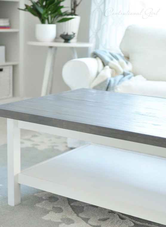 DIY Hemnes coffee table hack with a weathered grey finish (via centsationalgirl.com)