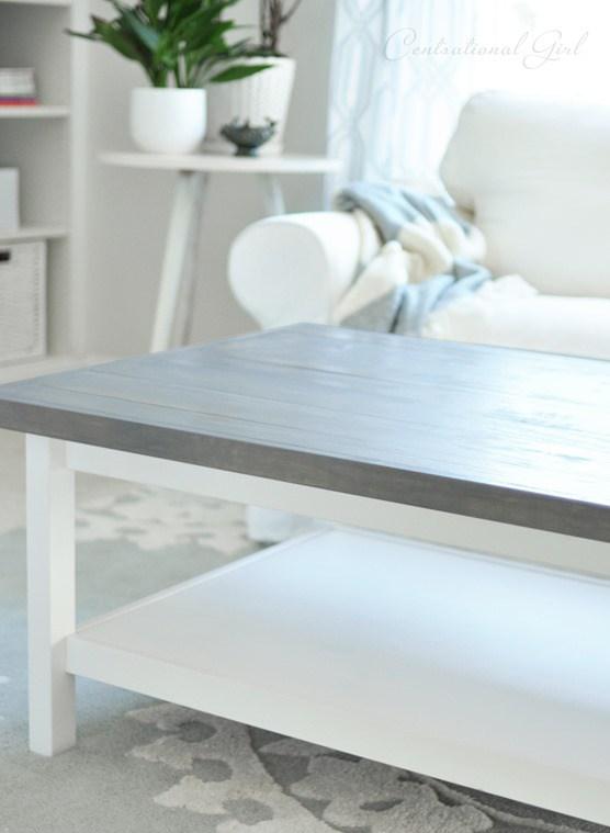 DIY Hemnes coffee table hack with a weathered grey finish (via centsationalgirl.com)
