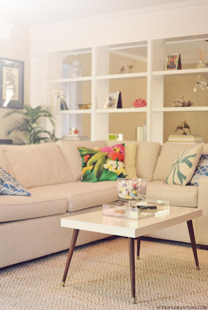 DIY Ikea Lack table hack into a mid-century modern piece (via www.triplemaxtons.com)