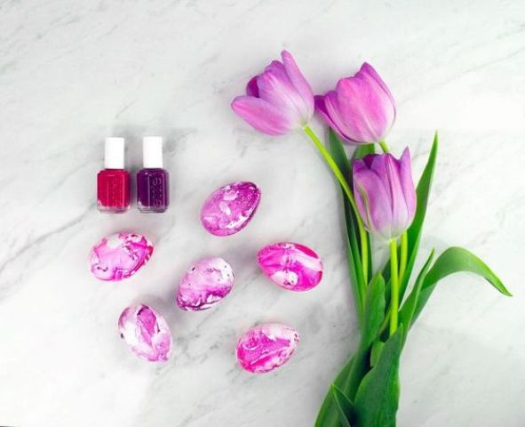 marble Easter eggs made with hot pink nail polish