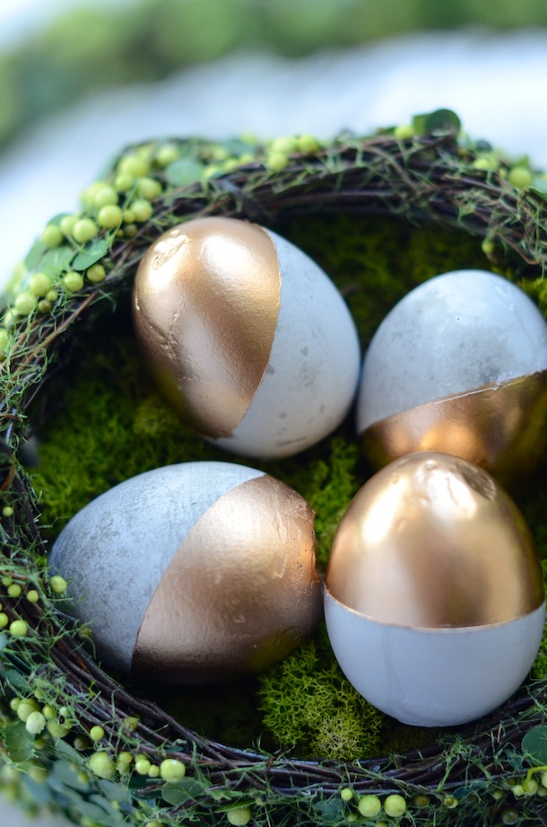 DIY cement gold Easter eggs (via camillestyles.com)