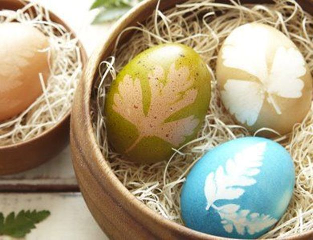 nature-inspired prints on all-natural dyed eggs