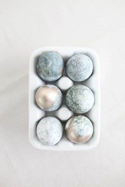 pastel blue marblized and gold dipped Easter eggs
