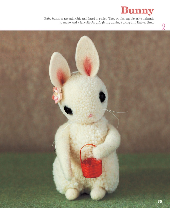 DIY pompom Easter bunnies with a basket (via www.prettyprudent.com)