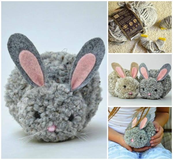 DIY cute pompom Easter bunnies (via www.fabartdiy.com)