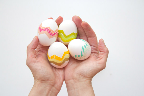 DIY washi tape chevron Easter eggs (via lovelyindeed.com)