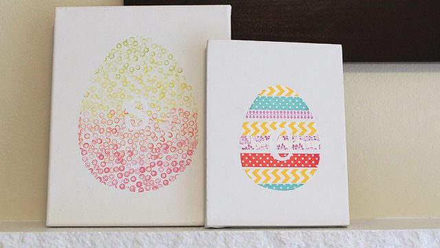 DIY washi tape Easter egg artwork (via www.ehow.com)