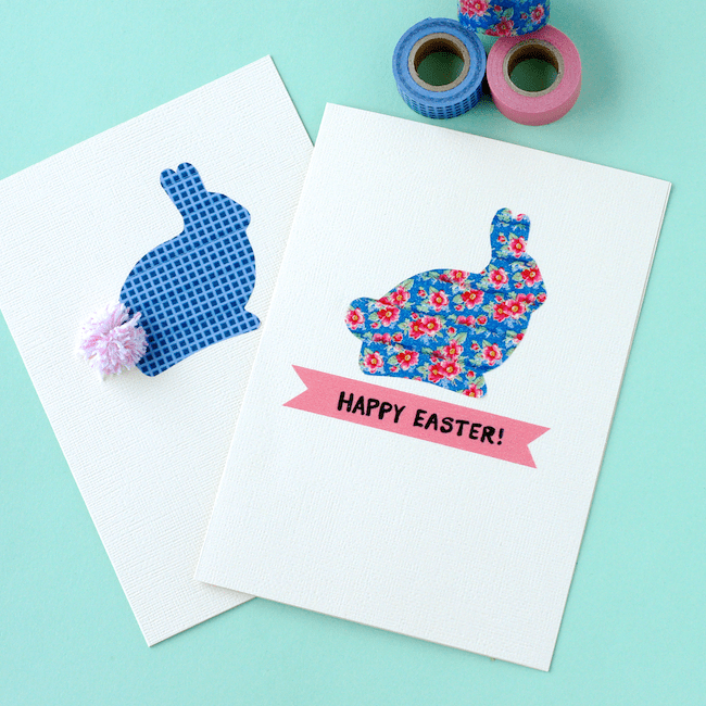 DIY washi tape Easter bunny cards