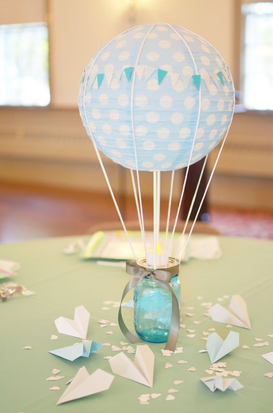 a hot air balloon imitation with a paper lantern and a glass jar