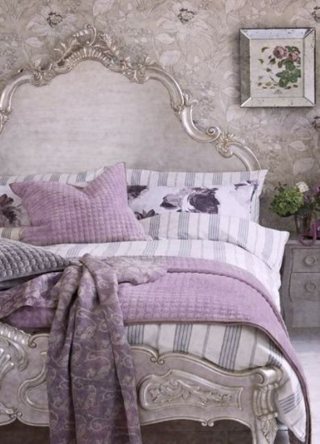 silver grey and lavender touches for a girlish French country bedroom