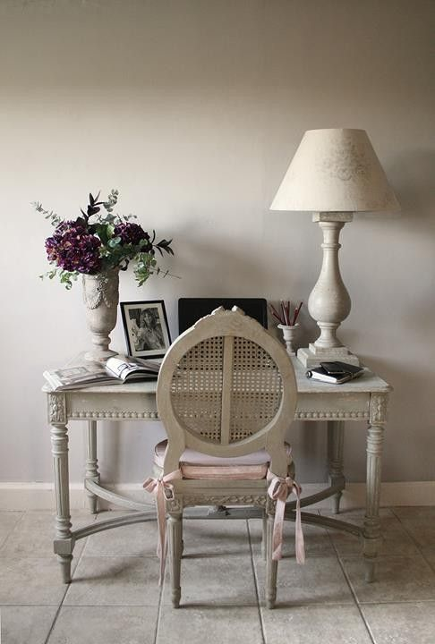 simple off-white feminine home office in French country style
