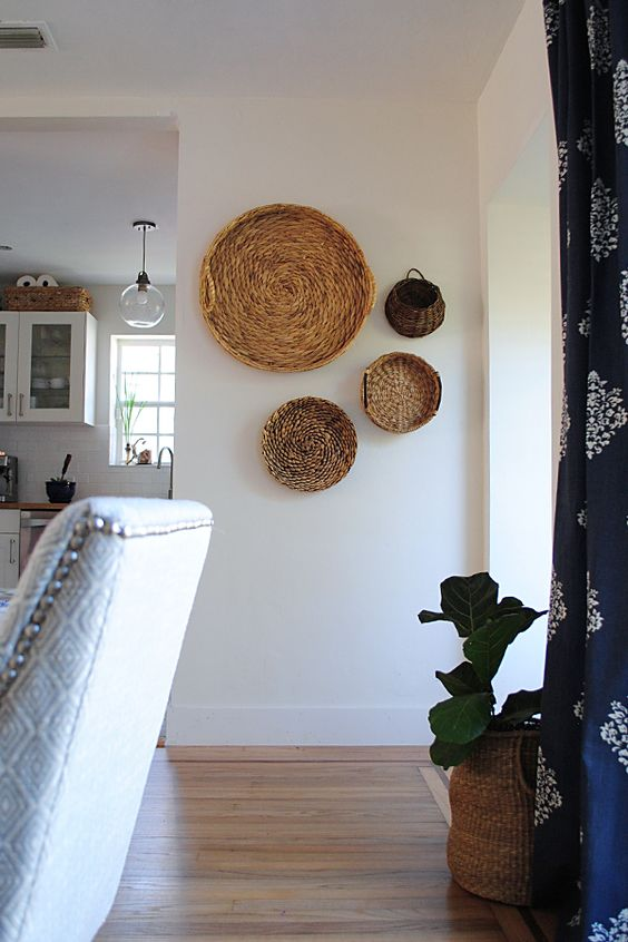 wall baskets and a basket planter echo with each other