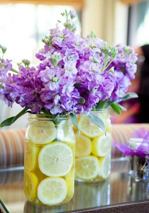 Jars With Citrus Slices Inside Make The Centerpieces Pop