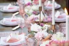 05 pink glasses and plates echo with pink blooms on the table