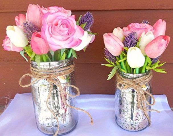 silver mason jars with twine, fresh flowers
