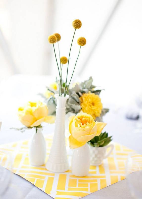 a sweet grouping of thrifted milk glass and a cheerful yellow palette