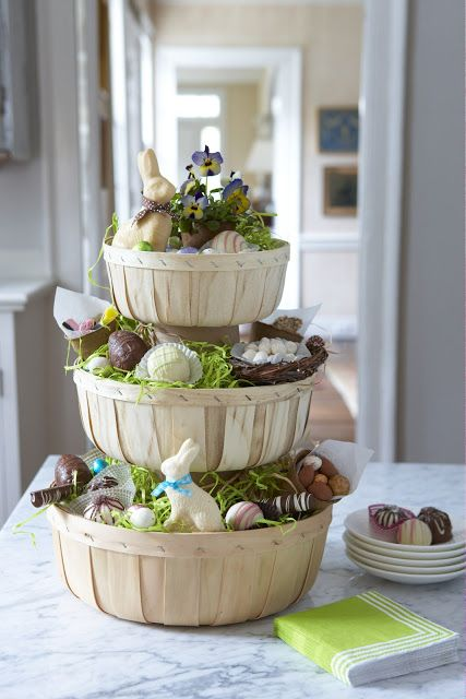 stacked Easter basket centerpiece with faux bunnies, sweets and chocolate eggs