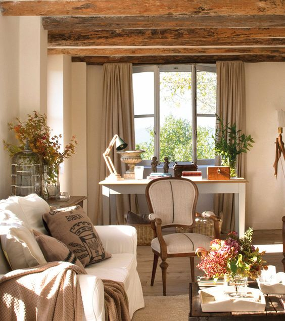these rustic wooden beams add interest to the home office