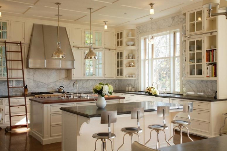 white and off-whites are spruced up with a marble backsplash and wall