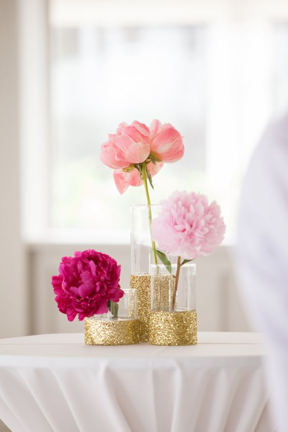 glitter vases combo for displaying individual blooms