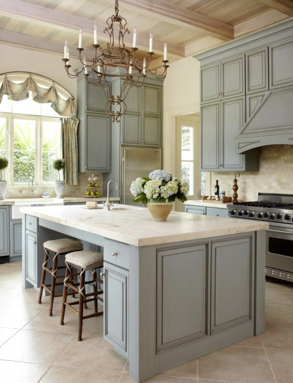 light blue vintage furniture and white marble countertops for a chic look