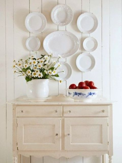 white lacey plates in the dining area or kitchen for a vintage feel