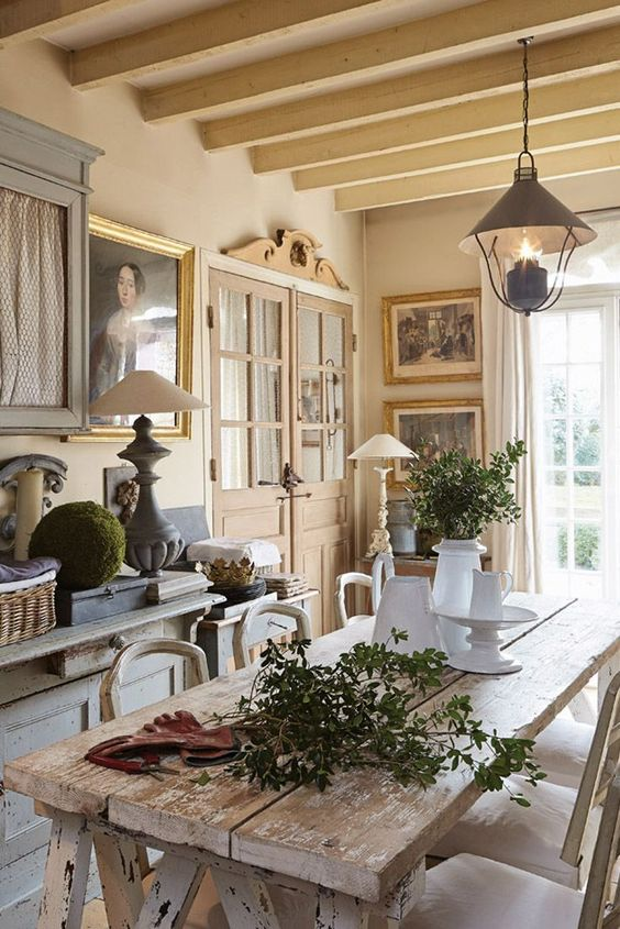 a shabby whitewashed dining table makes a stylish statement