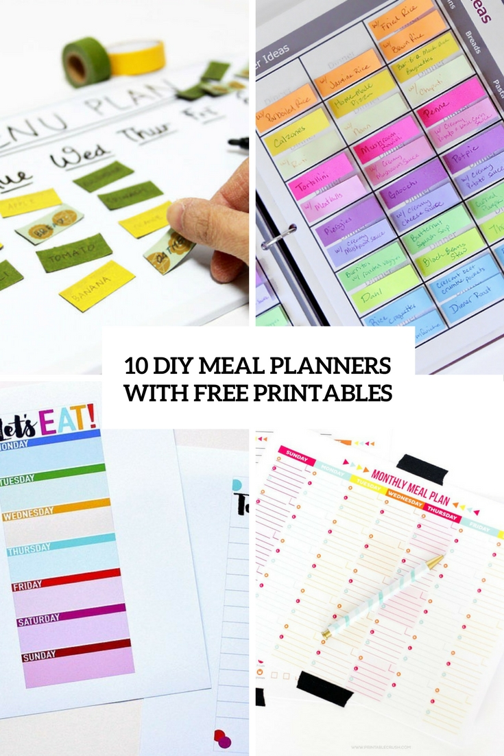 photo about Diy Printables named 10 Uncomplicated Do it yourself Dinner Planners With Free of charge Printables - Shelterness