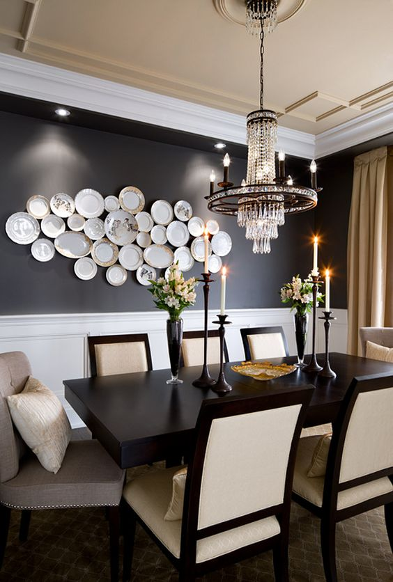 neutral plate arrangement in the dining space