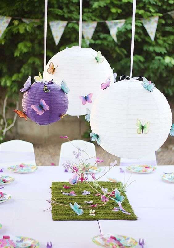 paper lanterns with butteflies over the table