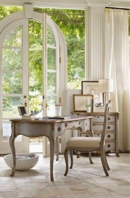 refined shabby furniture with carved parts